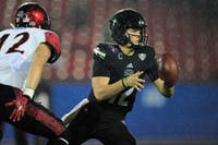 Nathan Rourke handles the ball during Ohio's win over San Diego State in the DXL Frisco Bowl. (Maddie Schroeder   Ohio Athletics)