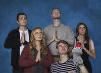 Cast photo of Lost Flamingo Theatre Company's rendition of the play Hand To God. (Provided via Michaela Chilenski)