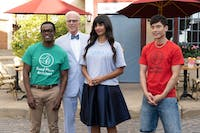 The four humans get the results of their afterlife tests during Thursday's episode of 'The Good Place.' (Photo provided via @TedDanson on Twitter)