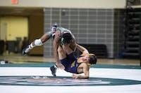 Ohio University's Shakur Laney wrestles against Kent State in a match on Jan. 18, 2019. Nate Swanson | For The Post