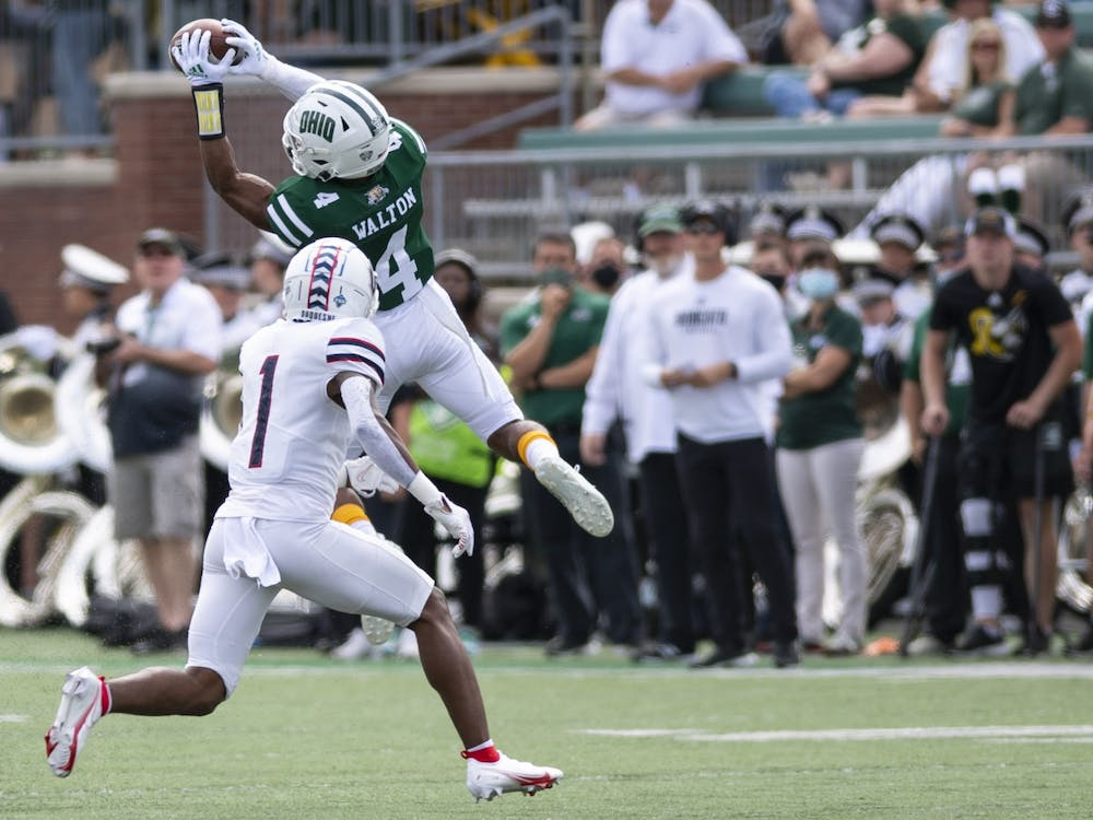 Ohio reciever Tyler Walton (#4) catches the ball during Ohio's 28-26 loss to Duquesne on Saturday, Sept. 11, 2021, in Peden Stadium.