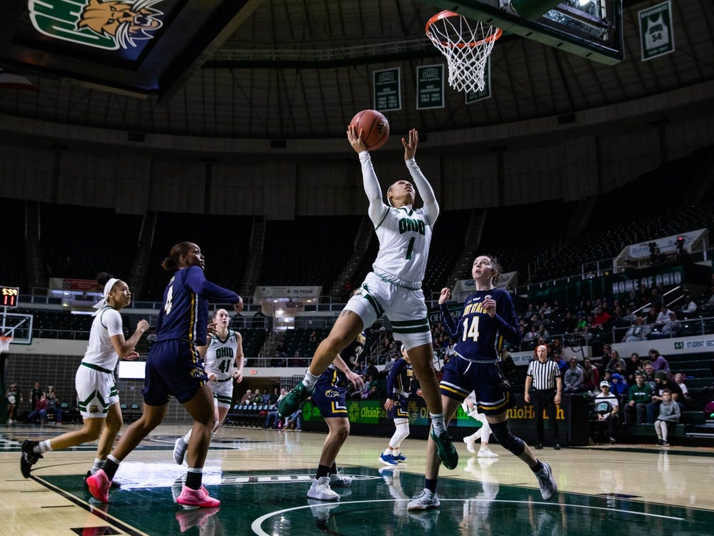 Ohio guard Cece Hooks (No. 1) leaps for a basket in a match against Kent State at the Convo on Saturday, Feb. 8, 2020. The Bobcats will prevail with a winning score of 63-57.