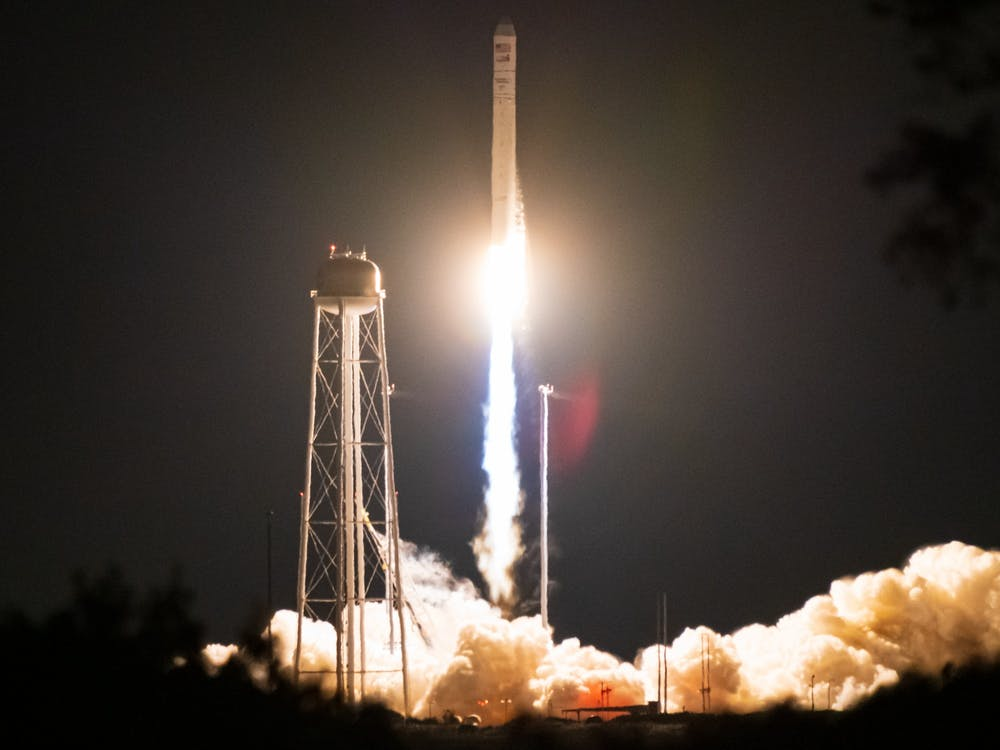 A rocket launches from NASA Wallops Flight Facility in Wallops Island, Virginia, on October 2, carrying Bobcat-1, Ohio University's first satellite, into orbit.