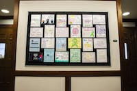 The bulletin in Porter Hall is  dedicated to mental health awareness with inspirational quotes and phrases drawn on many different posters on Monday, Feb. 17, 2020.