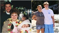 Baylee Demuth as a baby with her parents (left) and Trevor Colgan with his mom (right).
