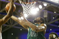 Ohio's Doug Taylor (#45) goes up for a layup during the Bobcats' game against Buffalo on Saturday, Feb. 24, 2018. (FILE)