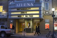 """The Athena Cinema in uptown Athens displays shows times for """"Awake,"""" a documentary about protesters at Standing Rock Sioux Reservation as part of the Sustainability Series on April 4."""