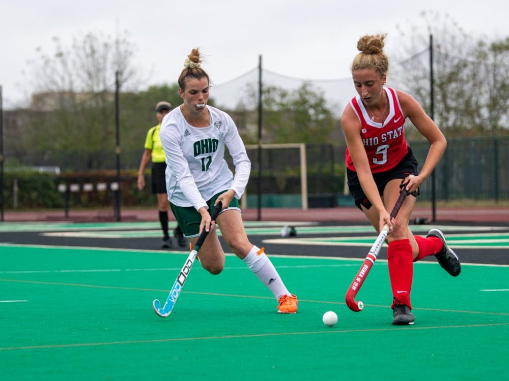 Ohio's Brittany Keen and Ohio State's Delaney Lawler chase the ball during the match on Sunday, Oct. 6, 2019, at Pruitt Field. The Bobcats lost 6-1. (FILE)