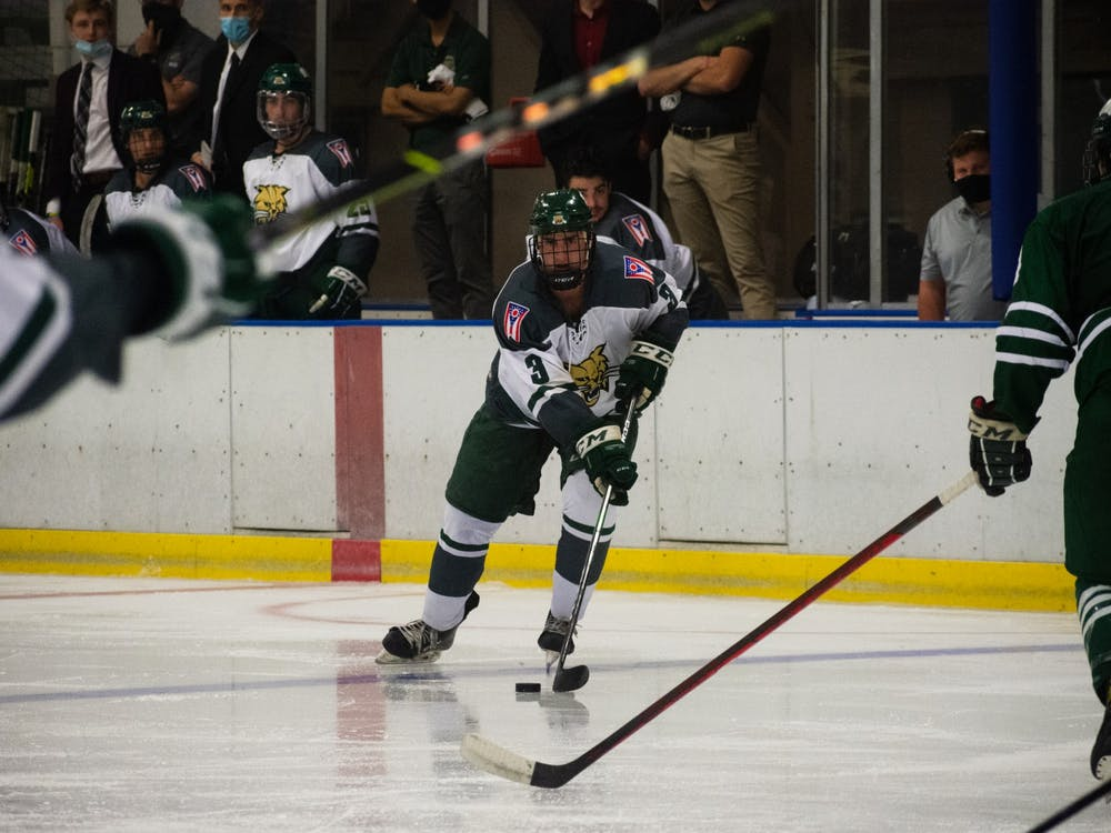 Ryan Hastings (#3) gets ready to face off against his fellow teammate Peyton Botich (#14) in Ohio University's hockey scrimmage on Sept. 18th, 2021.