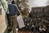 Alex Armstrong leads a budget rally protest on College Green at Ohio University on Monday, November 25, 2019. (FILE)