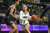 Ohio guard Cece Hooks side steps Kent State's Merissa Barber-Smith during the game against Kent State on Wednesday.