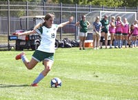Ohio midfielder Konstantina Giannou strikes the ball during the match against Southern Illinois University on Sunday, Sept. 8, 2019. The Bobcats won 7-0