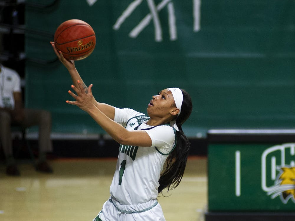 Ohio University's Cece Hooks (1) gets a fast break off a steal during the home game against The University of Akron on Saturday, Jan. 30, 2021 in Athens, Ohio.