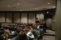 Seth Eggenschwiller, a theatre student at Ohio University, speaks out against the poor conditions of Kantner Hall at the Student Senate meeting on Tuesday, Nov. 5 2019. (FILE)
