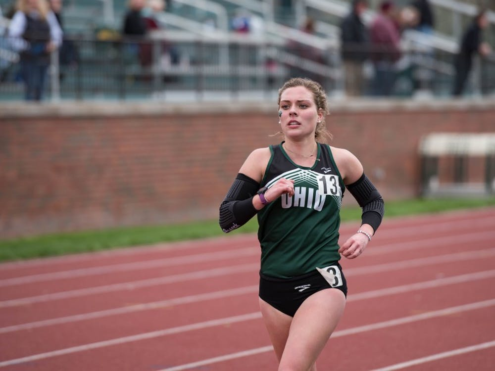 Abby Miller about to cross the finish line during the women's 5,000M during Ohio's Cherry Blossom invitational on April 1, 2017.