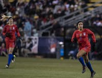United States Women's National Team player, Mallory Pugh (#2), chases a ball down during the game against Sweden's National Team on Thursday, Nov. 7, 2019, in Columbus, Ohio.