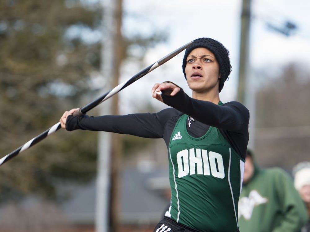 Ohio's Tajah Haley eyes her javelin during Ohio track and field's Cherry Blossom Invitational on April 7, 2018. (FILE)