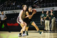 Olivia Bower drives to the basket during the Bobcats game against Walsh on Nov. 3.