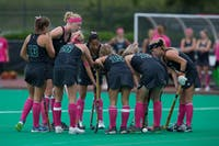 "The Ohio University Field Hockey team talks strategy during a home game against Missouri State at Pruitt Field on October 7. ""MICHAEL JOHNSON 