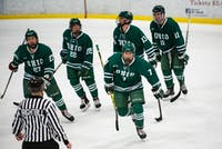 Junior forward Gianni Evangelisti (#7) skates toward the Ohio bench after scoring a power play goal in the first period of the Bobcats' 4-0 victory over Robert Morris-Illinois on Saturday, Dec. 1.