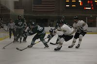Ohio forward Drew Magyar (No. 25) races to the puck before Lindenwood can reach it at Bird Arena on Saturday, Nov. 23, 2019.