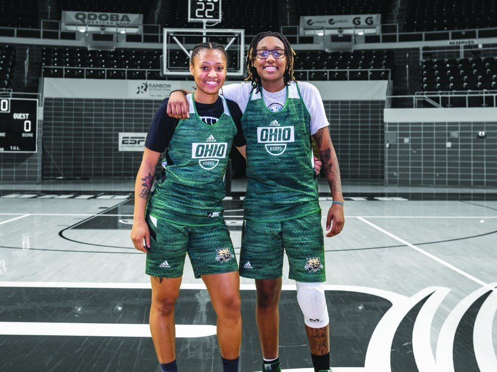 Ohio University women's basketball players, CeCe Hooks (left) and Erica Johnson (left) pose for a portrait together after practice on Monday, February 11, 2019.