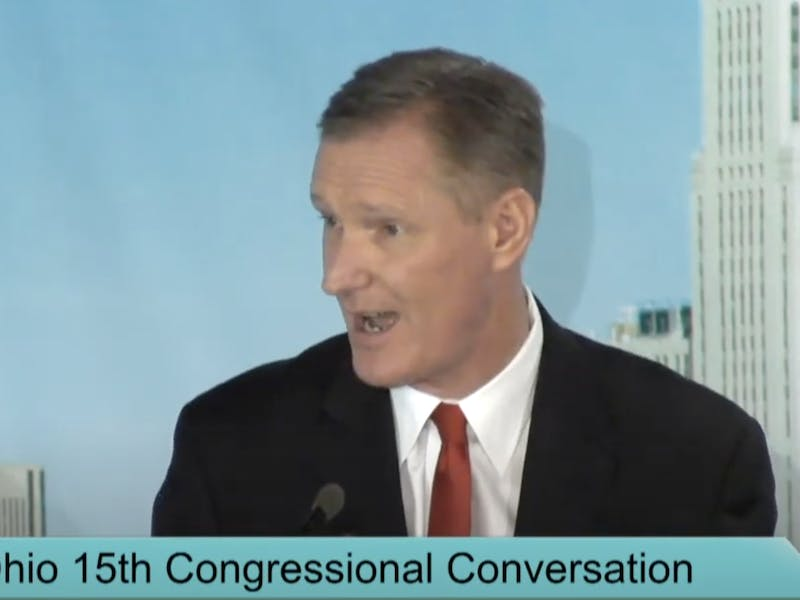 Screengrab from the virtual debate between Rep. Steve Stivers and Joel Newby on Oct. 16, 2020.