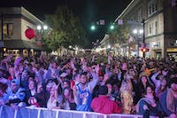 The crowd watches as Bobby Booshay performs during the Athens Halloween Block Party on Saturday. (PROVIDED via Kevin Pan | For the Athens Halloween Block Party)
