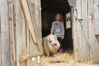 Evie Rose, daughter of Jon Rose, poses with her favorite inhabitant of Canary Acres Animal Sanctuary, a pig named Bernie, on Saturday, April 7, 2019.