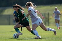 Sarina Dirrig defends the ball during Ohio's game against Central Michigan on Sept. 24. (FILE)