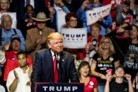 Then-presidential candidateDonald Trumpspeaks to a crowd during a rally in Cincinnati on Oct. 13. (FILE)