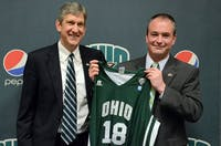 Then-Ohio coach Saul Phillips, right, with athletic director Jim Schaus in 2015. (FILE)