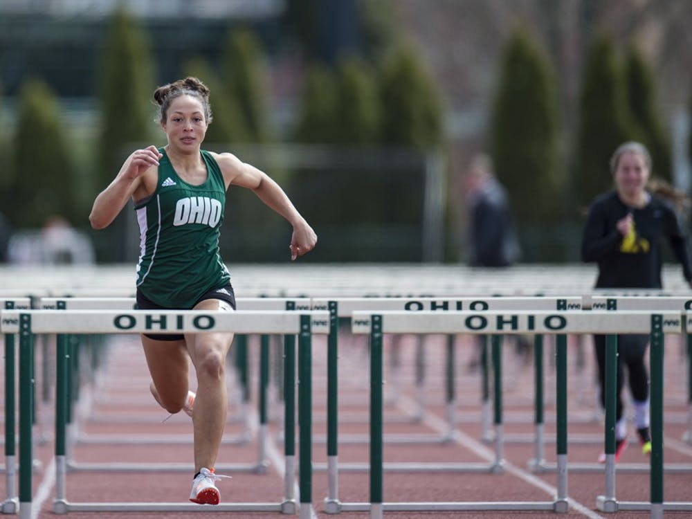 Mya Hodge competes in the 100m hurdles at Ohio Track and Field's Cherry Blossom Invitational on April 7. (FILE)