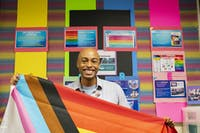 LGBT director, Micah McCarey, poses for a portrait in the LGBT center on Ohio University's campus.
