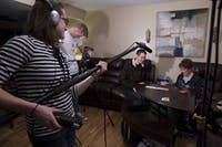From left to right, Tobey Kegley, Mark Dohner and Mark Bobson film for the 48-hour shootout with Kegley's grandmother, Jeanette Kegley, in Columbus, Ohio, on January 31, 2015. Media school students will again participate in the shootout, with some planning to have their siblings tag along during the process. (FILE)