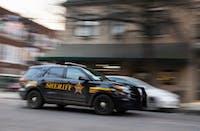 A sheriff's deputy drives down Court Street on Jan. 29.