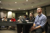 Jordon Kiger listens during Student Senate on Monday, Oct. 21, 2019. (FILE)