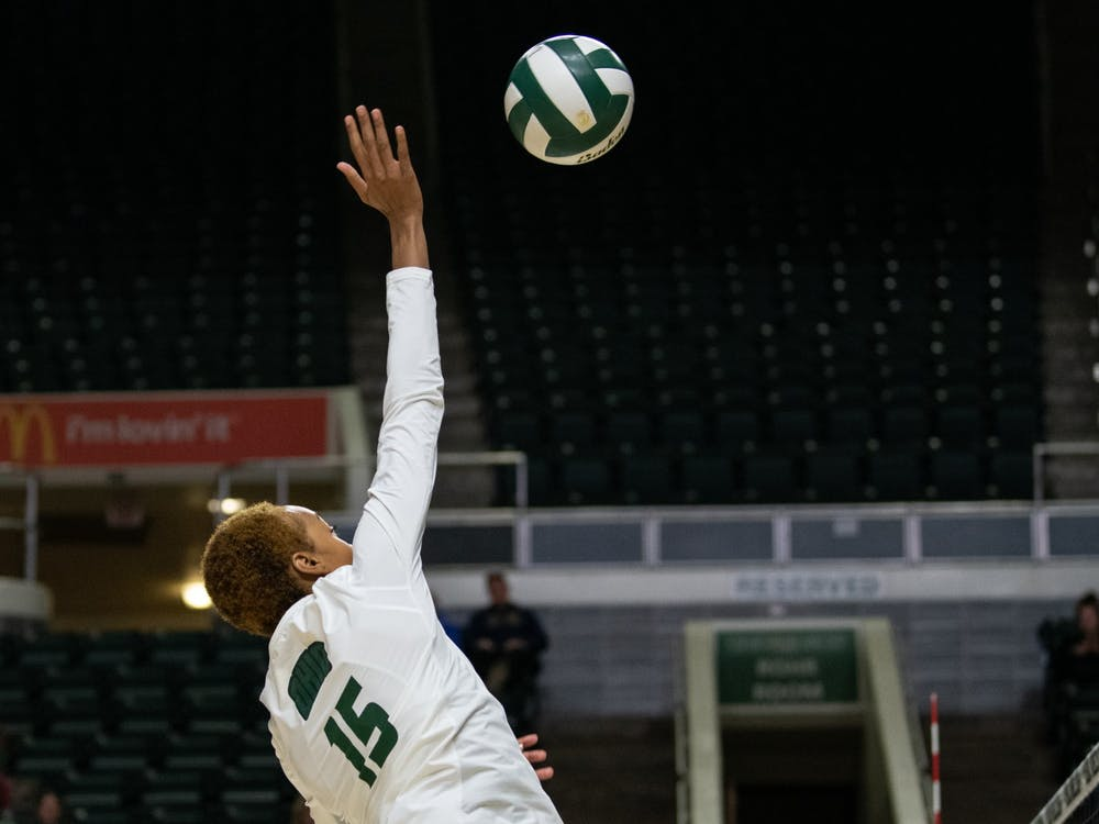Ohio's Tia Jimerson hits the ball during the match against Kent State in the Convo on Thursday, November 7, 2019. Ohio won the game 3-0. (FILE)