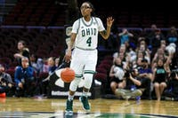 Ohio redshirt freshman Erica Johnson dribbles the ball down the court during the 2019 MAC Tournament Championship game against Buffalo on March 16. (Maddie Schroeder | Ohio Athletics)