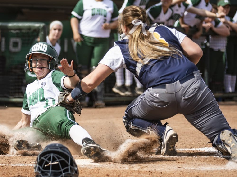 Ohio outfielder Deanna Cole (#27) attempts to slide into home plate during the Bobcats game against Kent State on Wednesday, April 10, 2019. The Bobcats lost to the Golden Flashes 1-0.