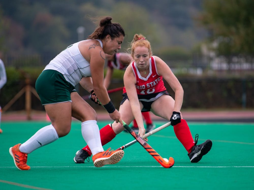 Ohio's Leah Warren and Ohio State's Mara Hunter fight for the ball during the game at Pruitt Field on Sunday, October 6, 2019. Ohio lost to Ohio State 6-1. (FILE)