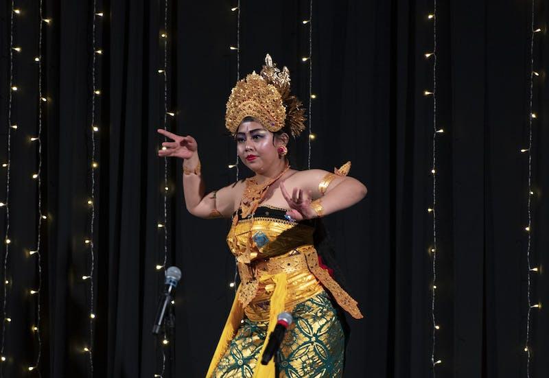Ni Luh Putu Bunga Mastari Dewi performs the Oleg Tamulilingan Dance, a Balinese traditional dance at Southeast Asian Night. The International Student Union of Ohio University sponsored Southeast Asian Night in Baker Ballroom on Sunday, Feb. 16, 2020.