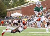 Quinton Maxwell, runs a touchdown during Ohio University's homecoming game against Bowling Green on October 20, 2018.