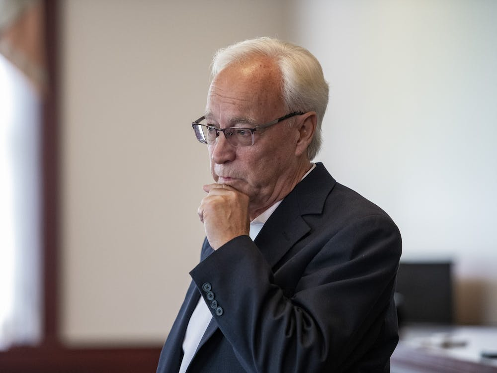 Ohio University President Hugh Sherman meets with local media on Thursday, July 8, 2021, for a question-and-answer session to discuss priorities and concerns for the upcoming school year.