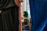 "Hannah Gardner wears a traditional hijab while having a pin attached with the hashtag ""#WorldHijabDay"" on Feb. 1."