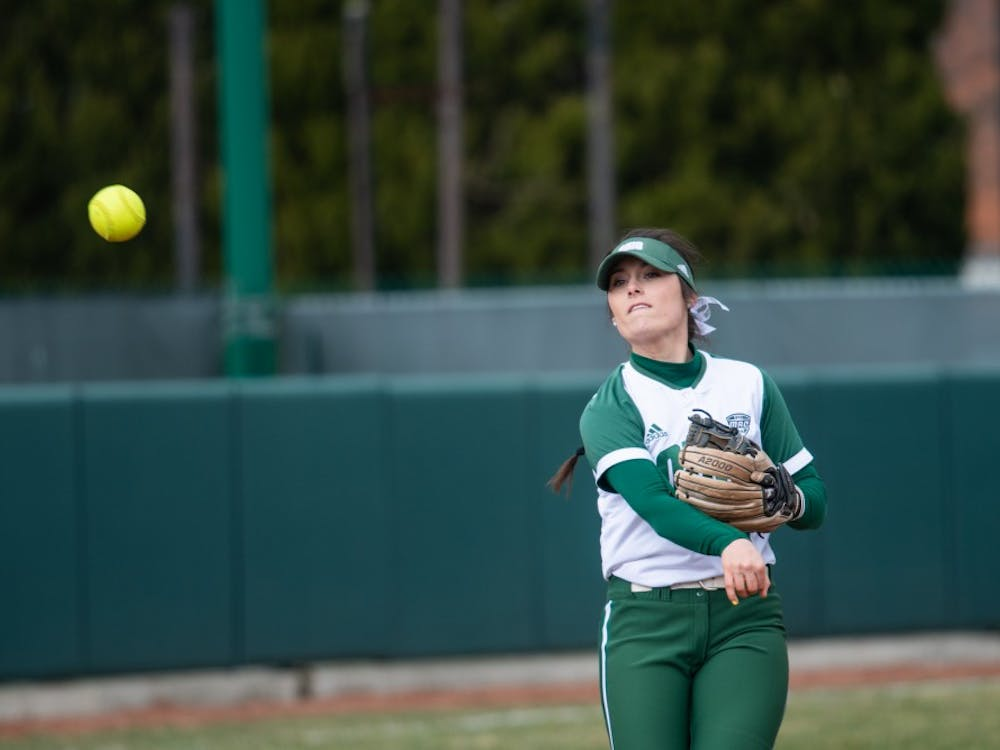 Ohio's Katie Yun throws the ball to a teammate during the Bobcats' game against Bowling Green on March 22. The Bobcats won 7-2.