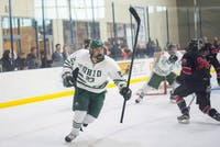 Ohio junior forward Gabe Lampron (#23) celebrates after his goal in regulation during the Bobcats' game against UNLV in the 2018 ACHA National Tournament on March 9. The Bobcats defeated the Rebels 3-2 and will advance to the next round of the tournament on Sunday.
