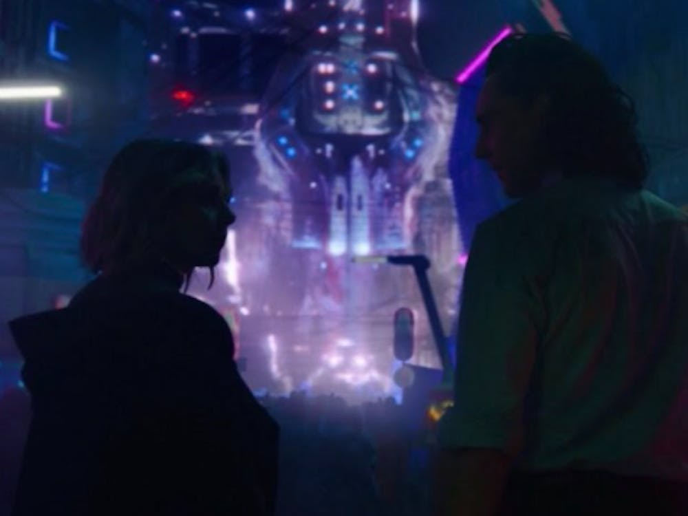 """Loki and Sylvie arriving in a colorful neon city in episode three, """"Lamentis"""" (Photo provided by @reindeerrgames via Twitter)"""