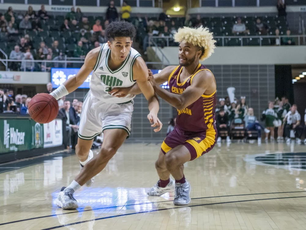 Ohio University's Ben Roderick (No. 3) drives the ball against Central Michigan University. The Bobcats won the game 77-69 in the Convo on Tuesday, Feb, 18th, 2020.