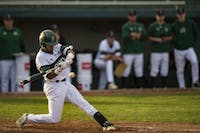Ohio's Devon Garcia swings during the Bobcats' game against Marshall on Wednesday. (FILE)